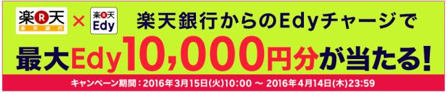 楽天銀行口座チャージでEdy最大10,000円分が当たる!