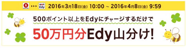 500ポイント以上のチャージでEdy50万円分山分け!